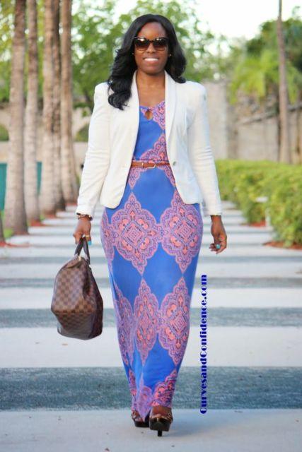 look com vestido longo e blazer