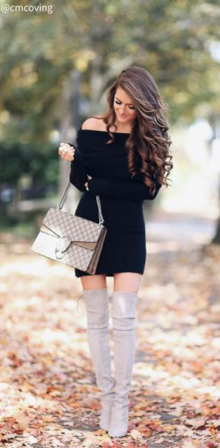 vestido preto ombro a ombro
