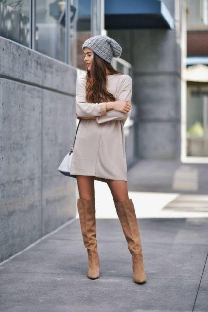 bota nude com vestido