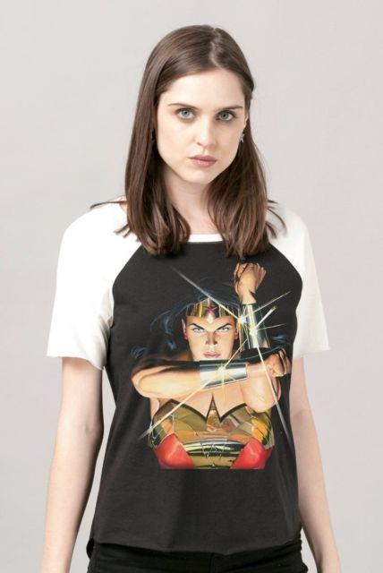 camiseta raglan feminina wonder woman