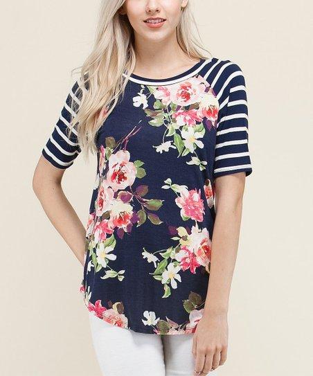 camiseta raglan feminina com estampa floral