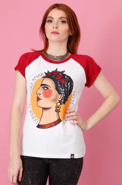 camiseta raglan feminina da frida kaloh