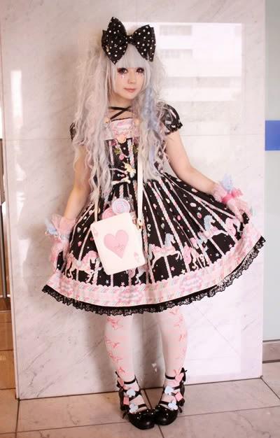 estilo kawaii vestido preto e rosa
