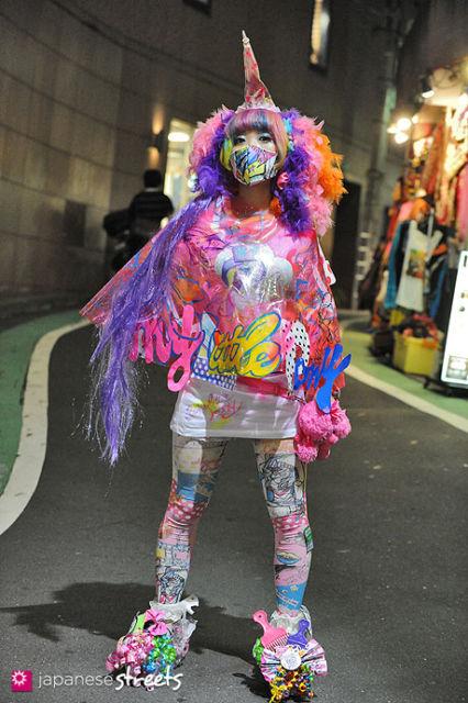 estilo kawaii com meia calça colorida