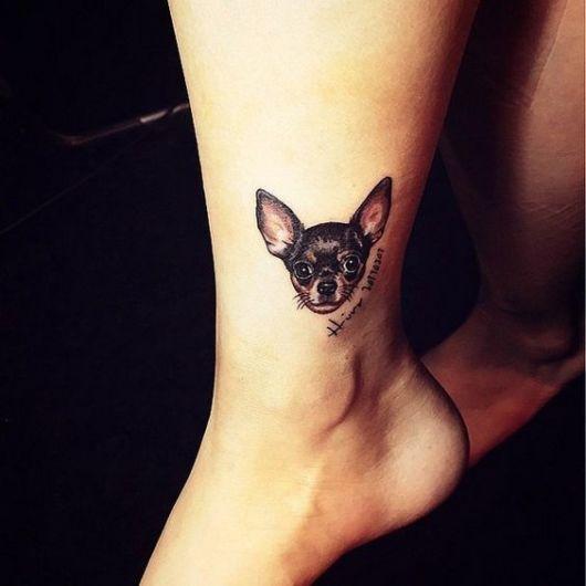 tatuagem rosto cachorro