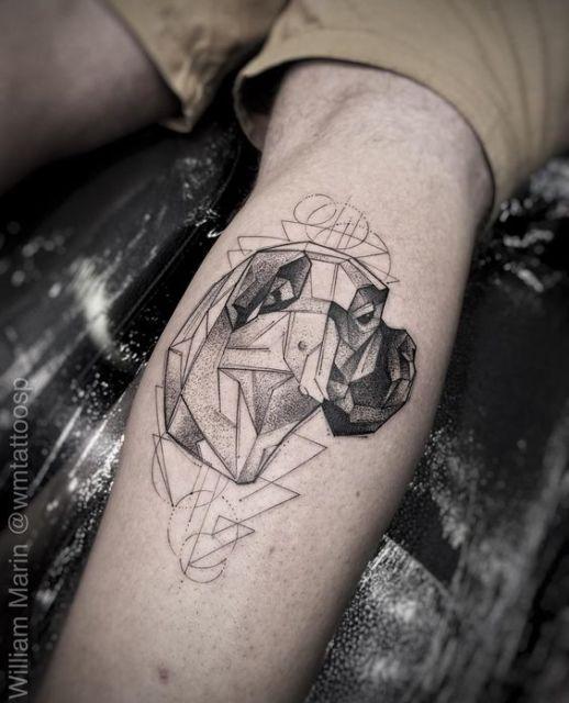tatuagem geométrica boxer