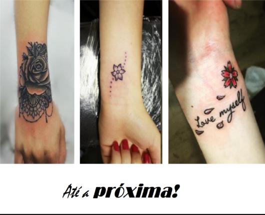 modelo usa tatuagens coloridas de flores no pulso.