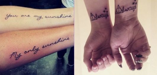 Você pode combinar para fazer uma tatuagem de casal complementar também
