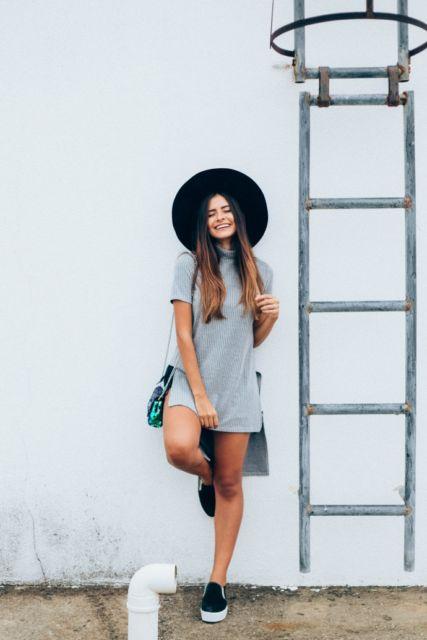 look com chapéu preto