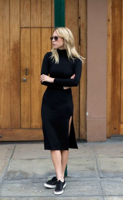 vestido preto de inverno