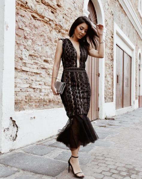 vestido sereia midi