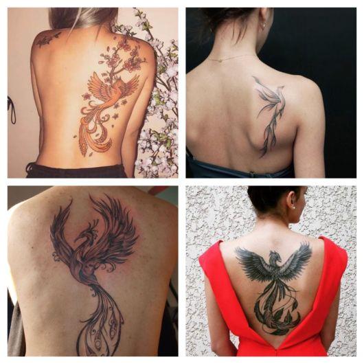 Lindos modelos de tatuagem fênix nas costas