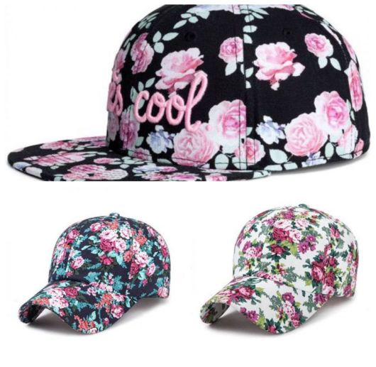 Montagem com três exemplos de boné florido com rosa.