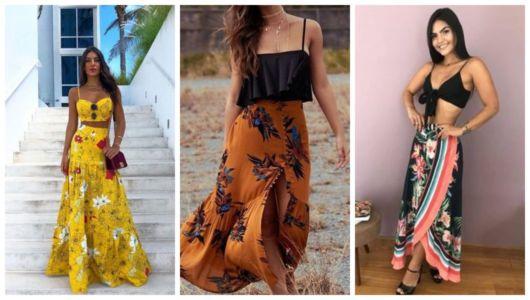 Montagem com exemplos de looks com saia estampada e cropped.