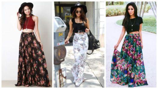 Montagem com fotos de mulheres com saia estampada comprida.