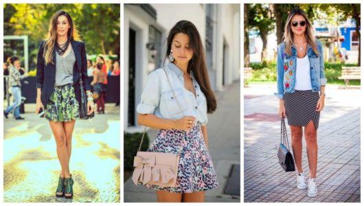 Montagem com fotos de mulheres usando saia estampada curta.