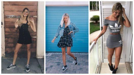 Fotos de mulheres com tênis de skatista feminino preto e vestido.