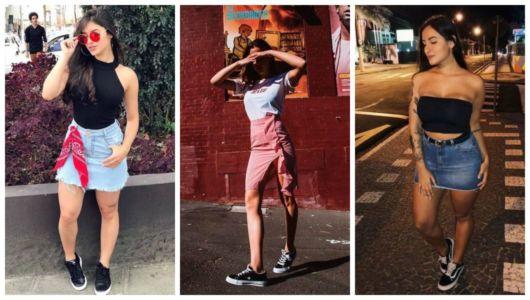 Montagem com fotos de mulheres com saia e tênis preto.