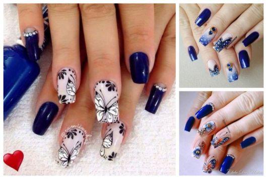 Montagem com unhas azuis decoradas com borboletas.