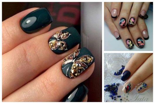 Unhas pretas e azuis com borboletas.