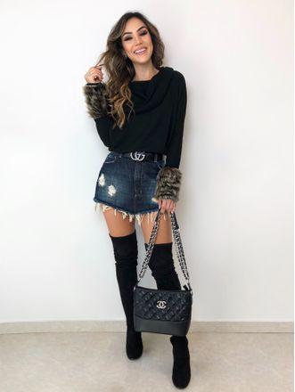 look inverno com saia jeans