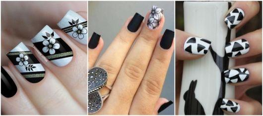 ideias de nail art em preto e branco