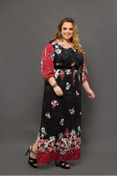 look vestido longo plus size
