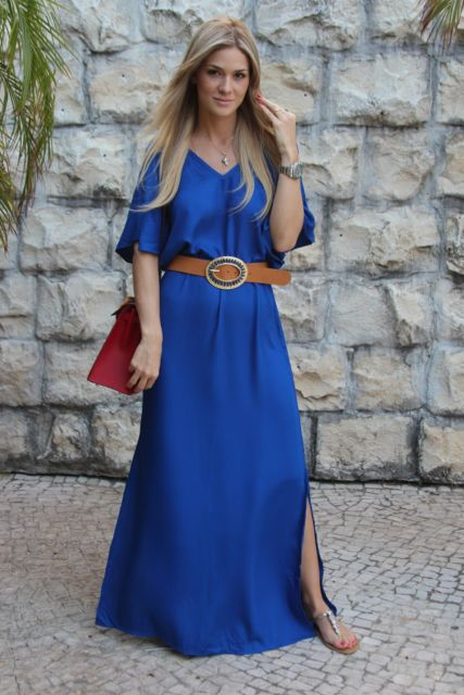 look vestido longo com cinto