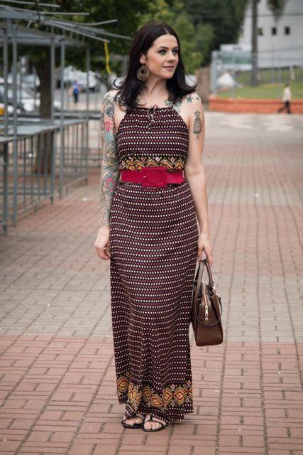 look vestido longo estampado