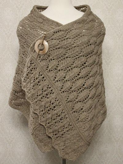 xale de lã com botão
