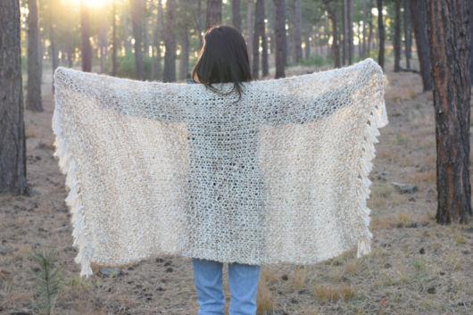xale retangular de lã