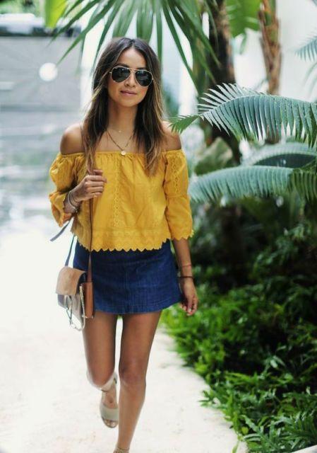 look com mini saia jeans