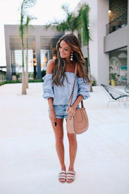 blusa listrada com short jeans