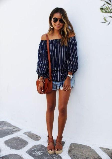 blusa listrada de manga longa