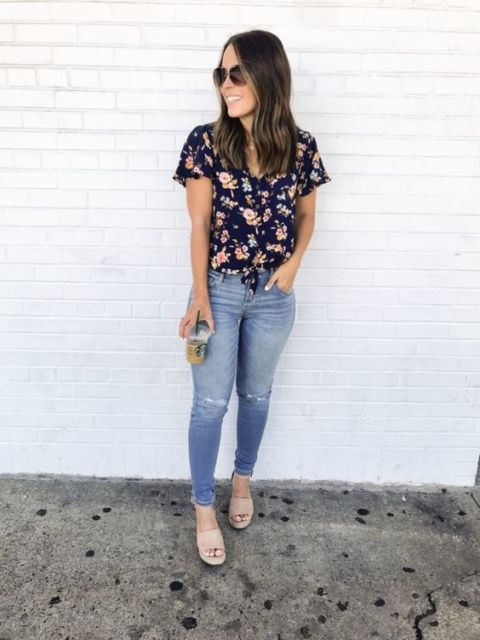 blusa viscose com estampa floral