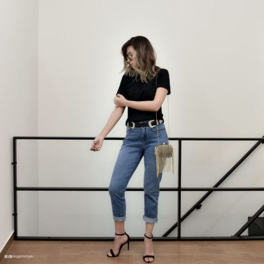look com calça jeans e cinto