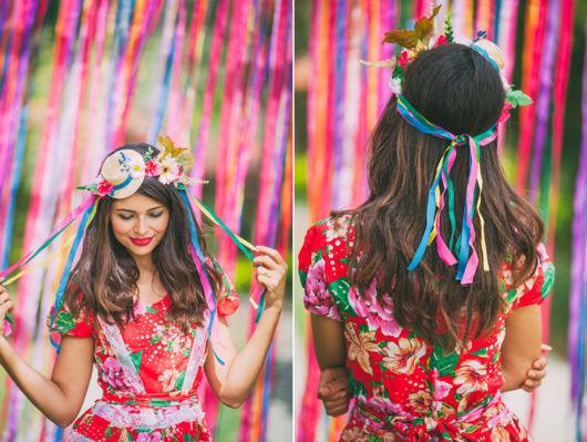 Enfeite de cabelo para festa junina.