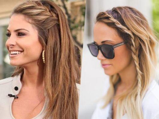 Penteados com franja: trança lateral