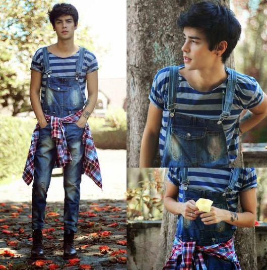 look macacão jeans masculino