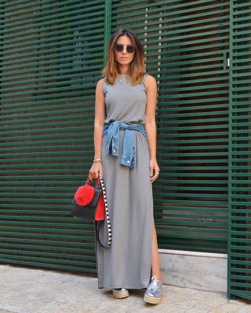 look vestido longo com tênis