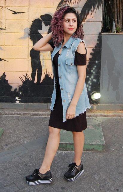 look vestido com colete