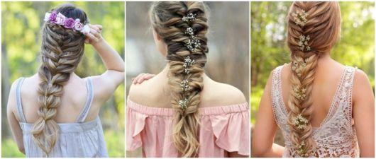 ideias de penteados com flores