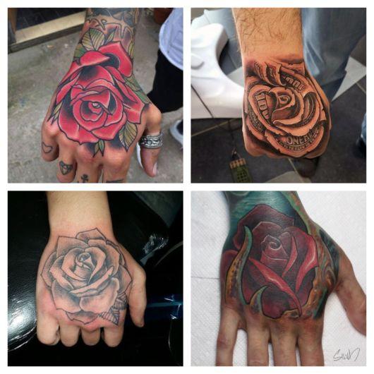 Lindas tatuagens de rosa na mão para todos os estilos
