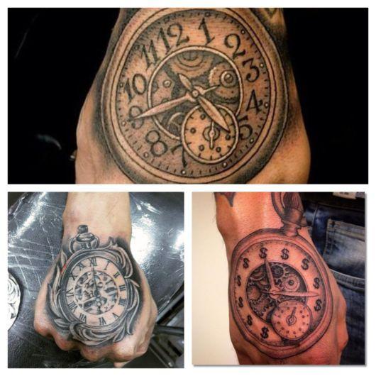 tatuagem na mão de relógio