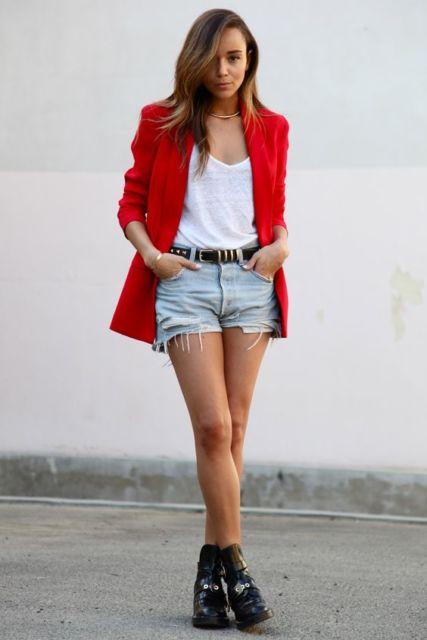 blazer com short jeans