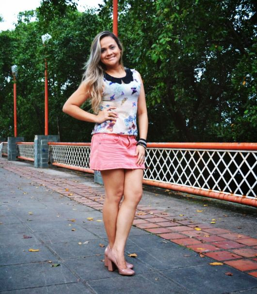 look saia jeans colorida
