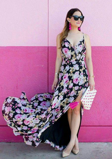 vestido longo com scarpin