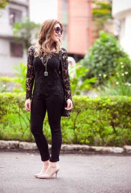 look com blusa de renda preta