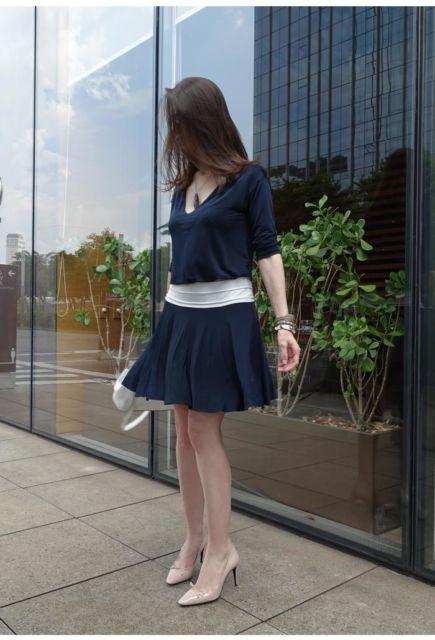 look com vestido azul