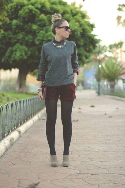short com meia calça